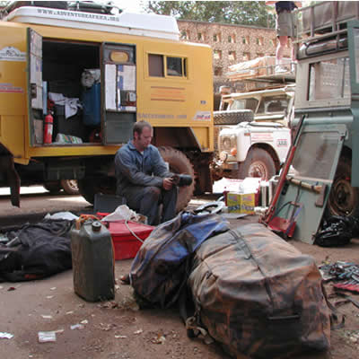 March 3, 2001 Downtown Bamako - Mid trip repairs. Bamako, Mali