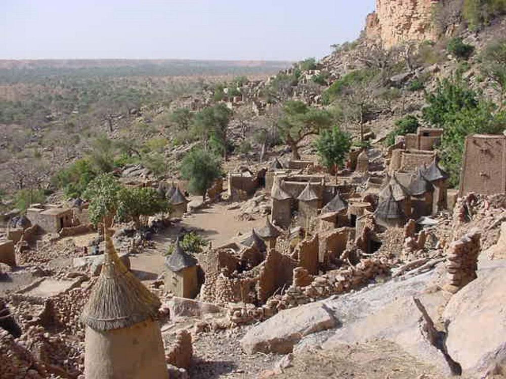 View of a Dogon Village from above