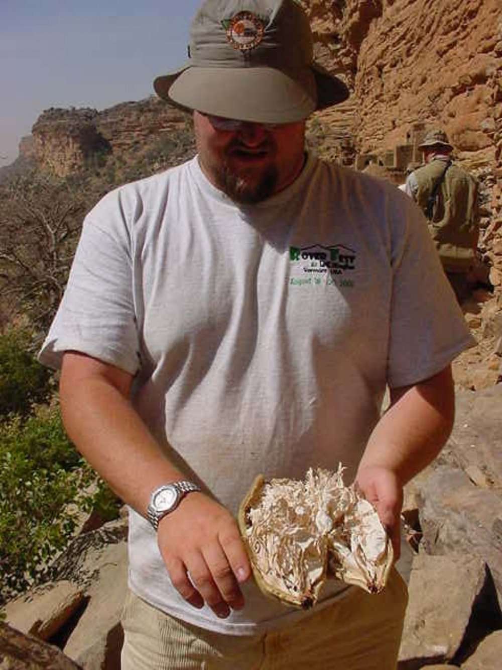 Expedition Leader Paul Shumway displays Dogon Baobob Fruit