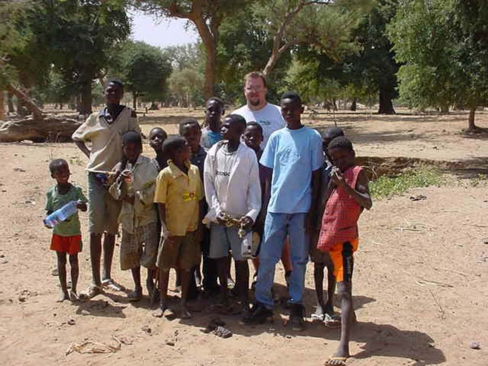 Paul Shumway & a group of local Dogon villagers