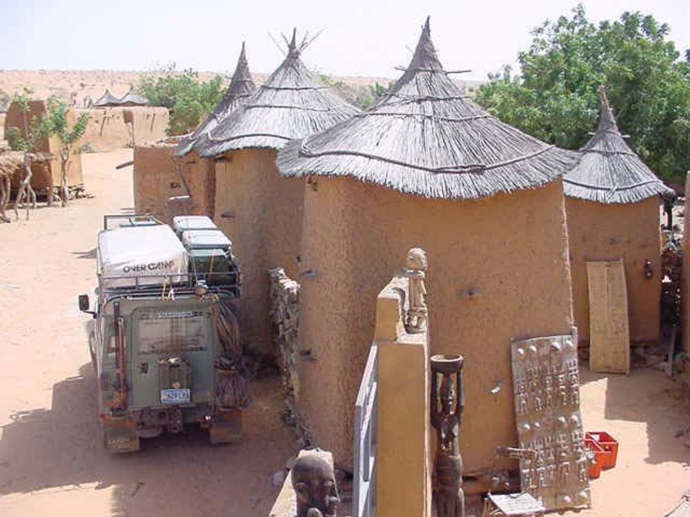 Michael Ladden's Land Rover parked in a Dogon Village