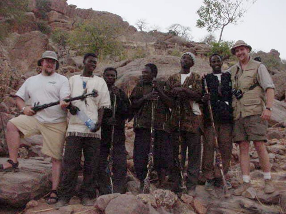Paul Shumway & Wilson Bullard pose with the Dogon musket brigade