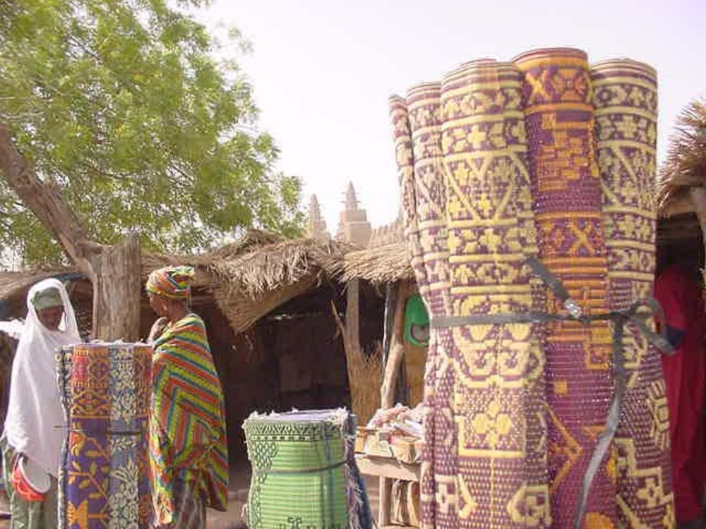 Colorful rugs in Djenne