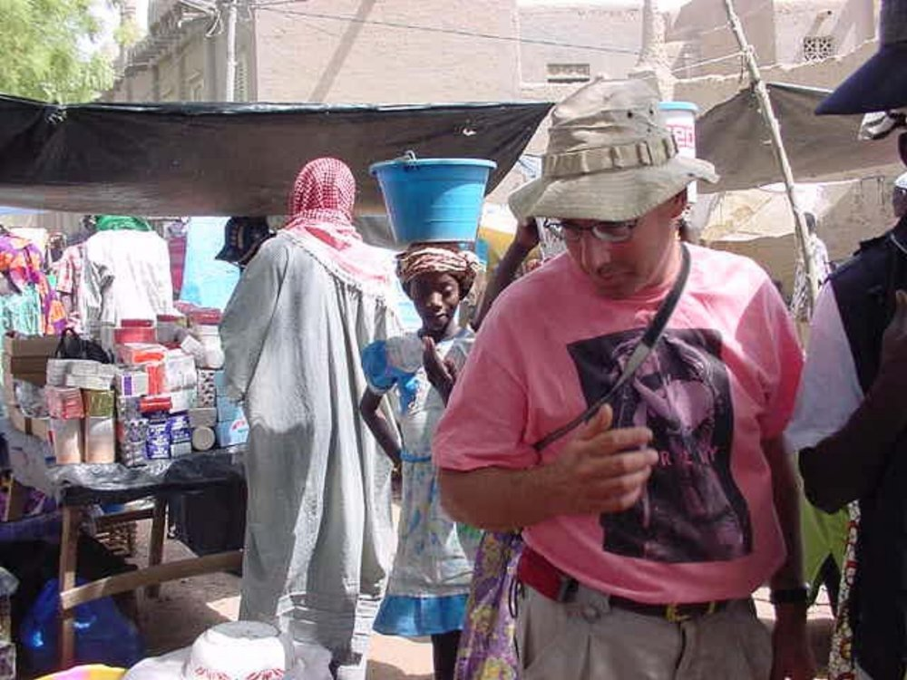 Al Cornell surveys the goods at the Djenne Mali market