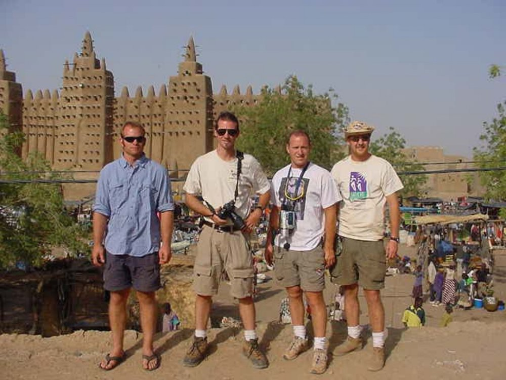 Shane Ballensky, Jim Leach, Michael Ladden & Wilson Bullard with the Grand Mosque beyond