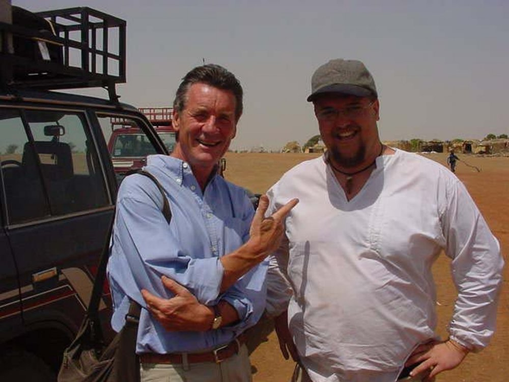 Monty Python himself, Michael Palin & Drive The Globe's Paul Shumway meet at the Djenne ferry