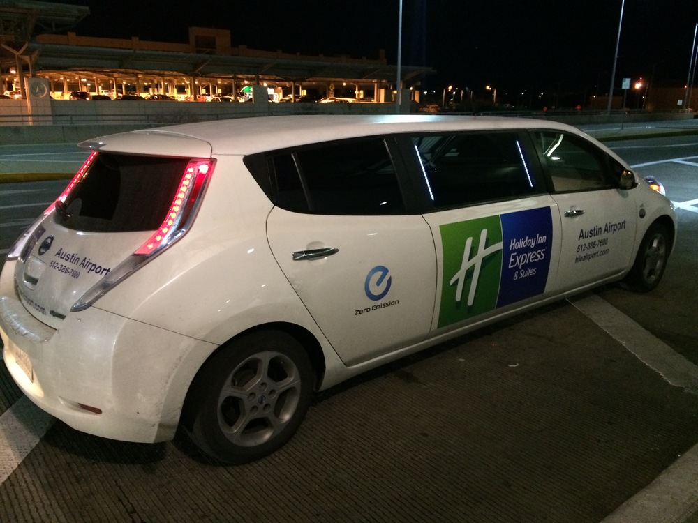 Once, I got picked up in an one-of-a-kind Nissan Leaf stretch limo!