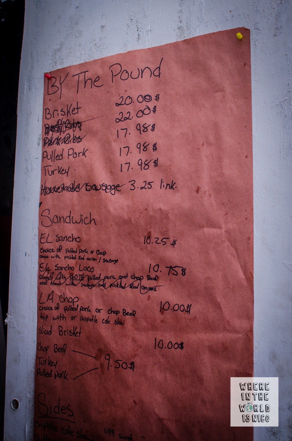 As the day goes on, menu items get scratched off from this handwritten menu