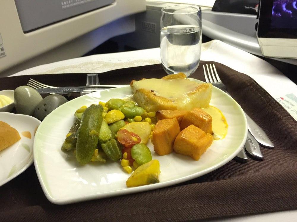 Dinner Service Main Course: Seared Chilean Seabass with Corn Puree & Corn Succotash
