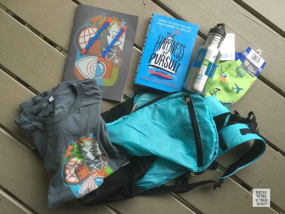 The swag bag included an amazing lightweight daypack, canteen, socks, t-shirt and a copy of Chris Guillebeau's latest book.