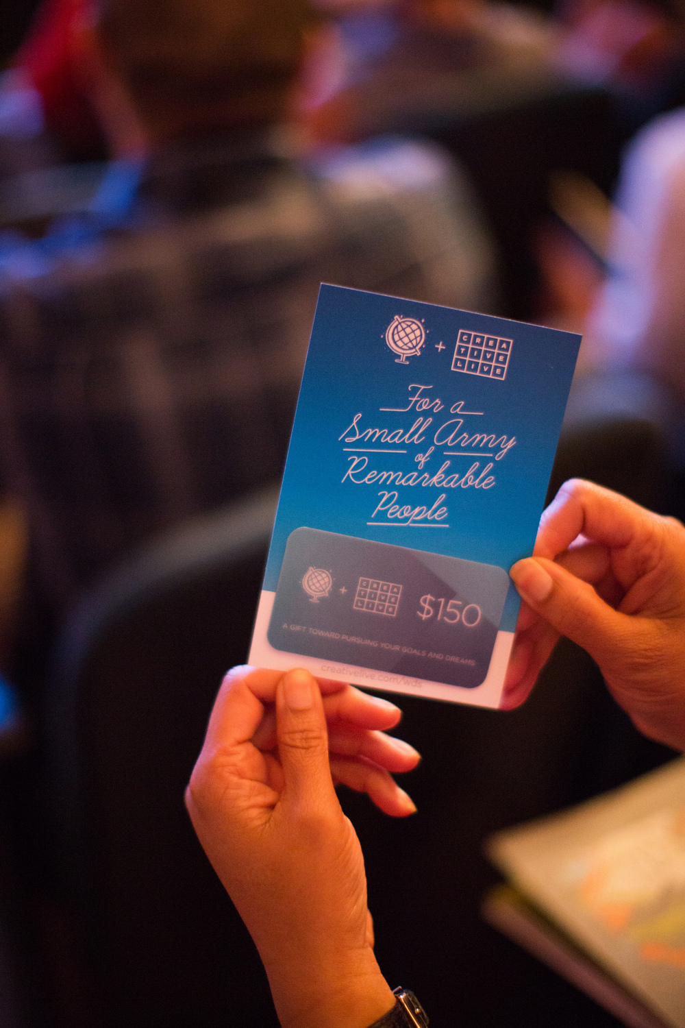 $150 Gift Cards to  Creative Live  for everyone in attendance!  Image courtesy of Armosa Studios