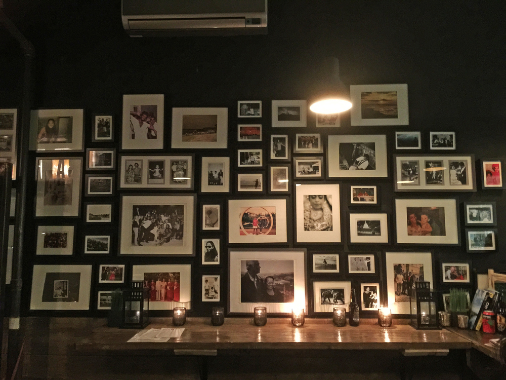 The walls are littered with pictures of the owners' Sri Lanka family life