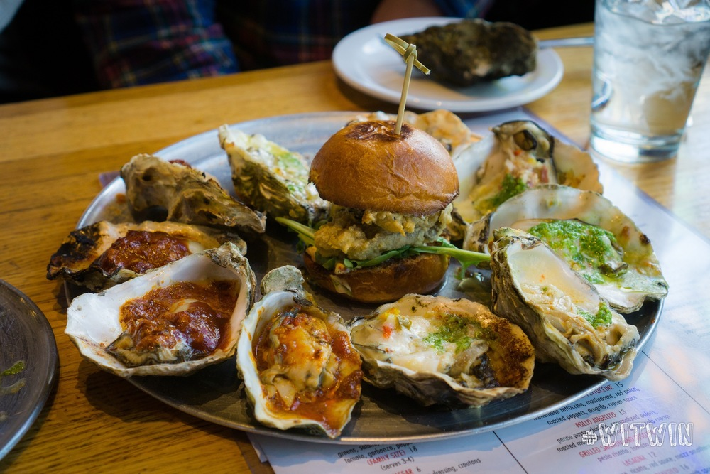 Chipotle Bourbon Butter, Red Hot Chilli Pepper, Bacon & Gorgonzola Chargrilled Oysters ($2/each) & Fried Oyster Slider ($4)