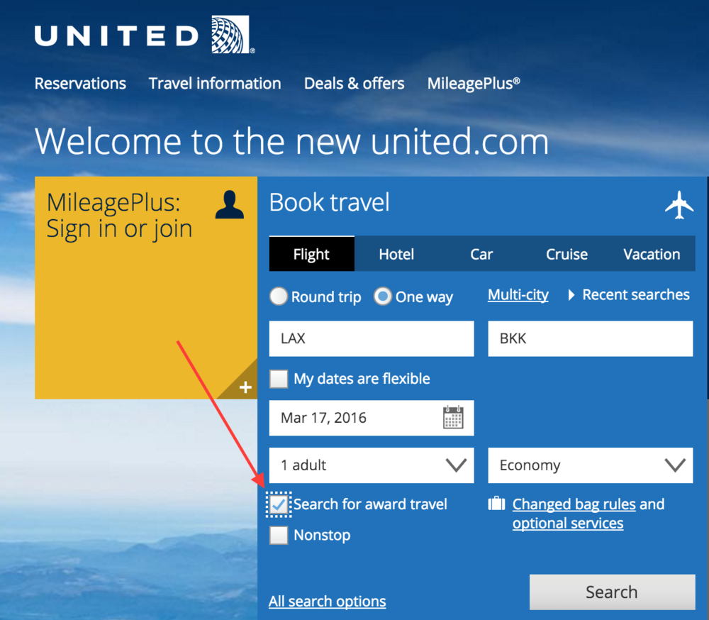 Enabling Award Travel Search On United Airlines