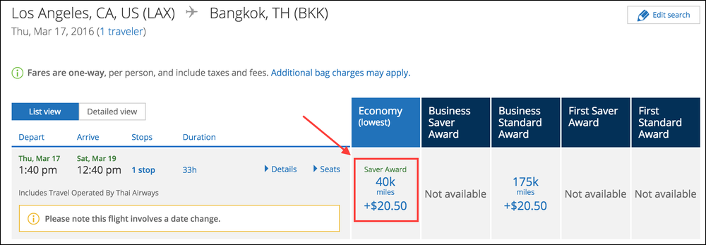 Los Angeles to Bangkok will cost 40,000 miles in Economy Saver with United Airlines!