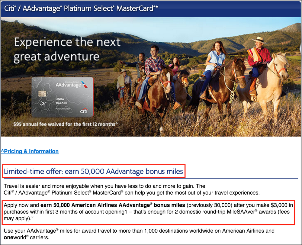 Citi® / AAdvantage® Platinum Select® MasterCard® with Limited Time 50K Miles Bonus Offer