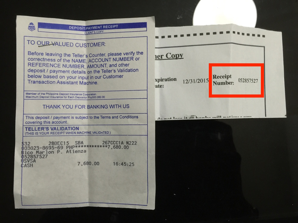 MRV Payment and bank receipt