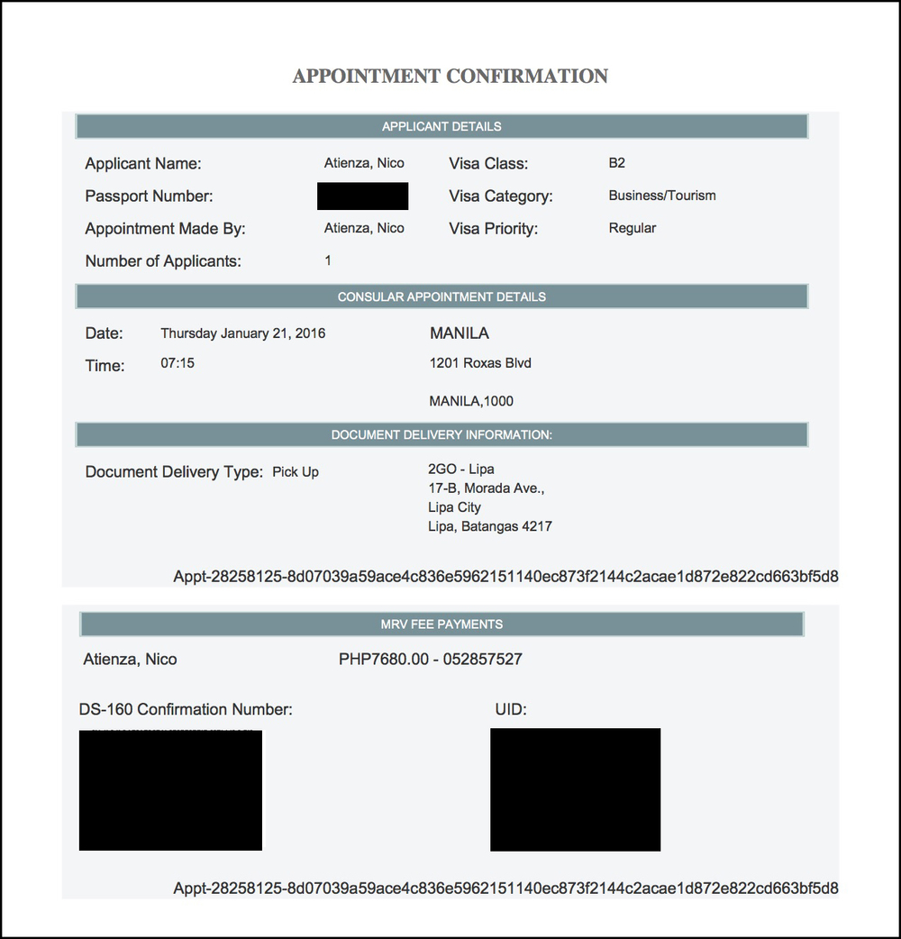 appointment confirmation page