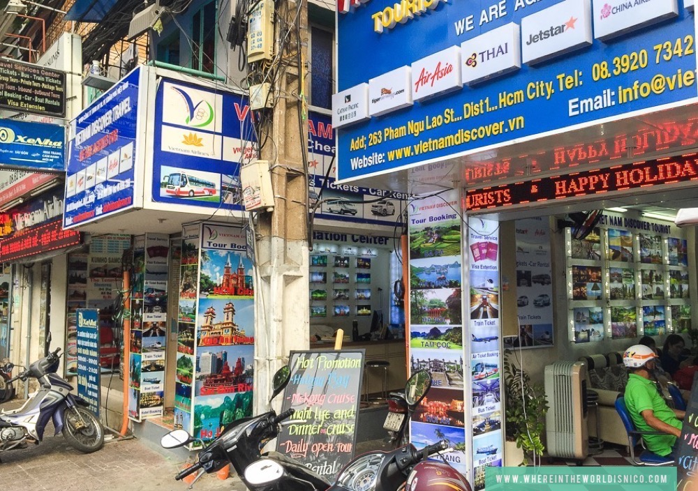 The numerous tour agencies on Backpackers Street (District 1)