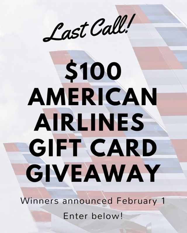 Last call to win a $100 @AmericanAir gift card! My #giveaway is coming to and end so it is officially last call! Thank you to all of you who have already entered. - Here's how to enter the giveaway for a chance to win: * 1️⃣ Follow me on instagram, leave a comment on where you would go with this gift card OR tag a friend who could make use of it 2️⃣ Subscribe to my Youtube channel (youtube.com/NicoAtienza) and DM me your username 3️⃣ Subscribe to my weekly newsletter (tinyletter.com/NicoAtienza) and DM me your email address 4️⃣ Follow me on twitter (@NicoAtienza) and DM me your username * Good luck! Two winners will be announced on February 1.