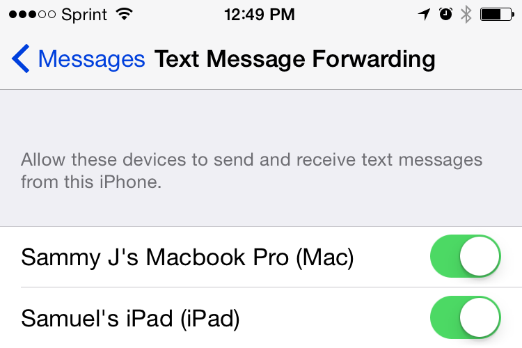 Text Message Forwarding on iPhone
