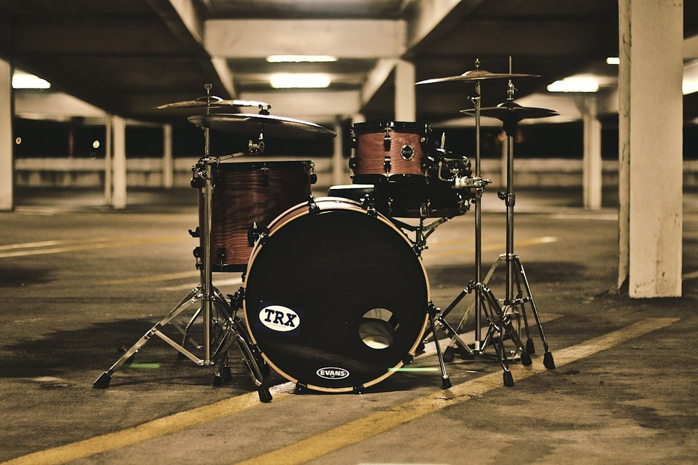 Drum Set in a Garage Band