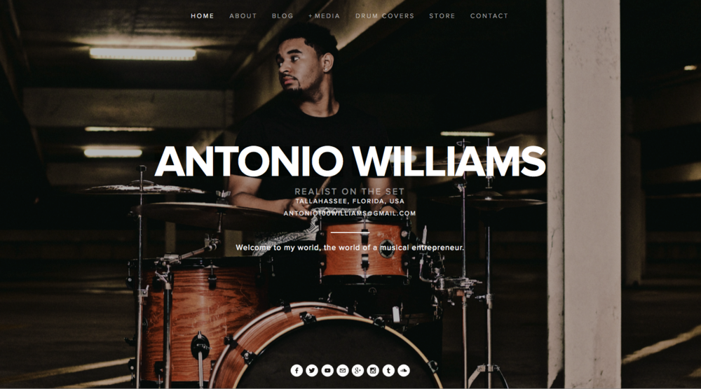 Website screenshot for Antonio Williams, RealistOnTheSet.com.