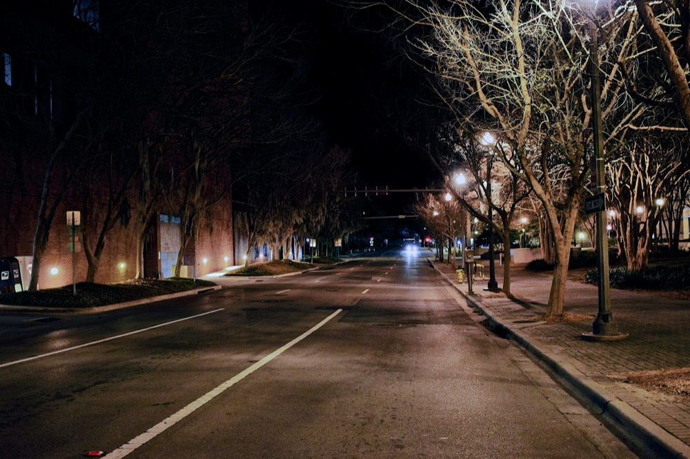 Tallahassee, Florida Street at Night. ©Samuel Febres