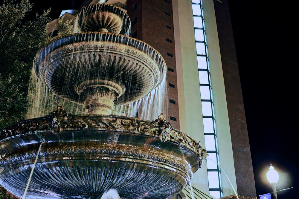 Decorative Water Fountain at Night.
