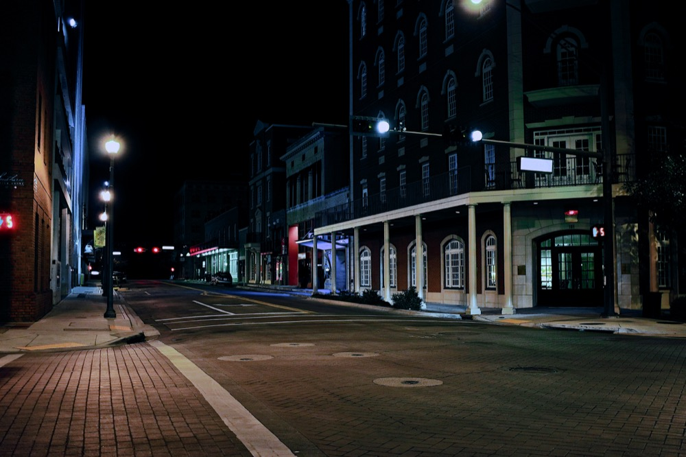 Tallahassee Downtown Street at Night. ©Samuel Febres