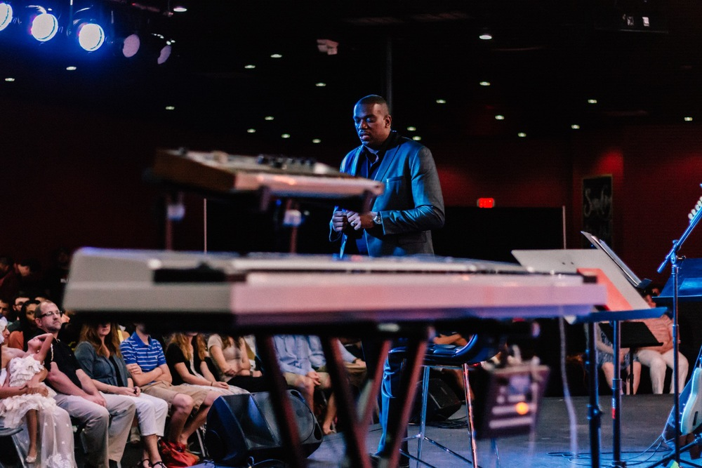 Pastor Adrian Crawford preaching at Engage Church in Tallahassee, Florida on Easter (2015).