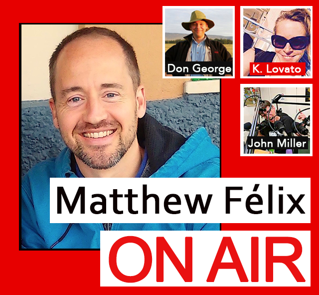 """First episode of """"Matthew Félix On Air"""" radio show and podcast on FCCFree Radio (fccfreeradio.com)! Excited to welcome my first guests to the show! None other than travel-writing legend Don George and freelance writer, traveler, and champagne lover Kimberley Lovato will fill us in on their long-running, incredibly popular Weekday Wanderlust, in the run-up to their upcoming event on Thursday, 2/15.  And I'll start things off with FCCFree Radio's very own John Miller, founder and general manager, who will give us an intro to the station and how it came to be."""