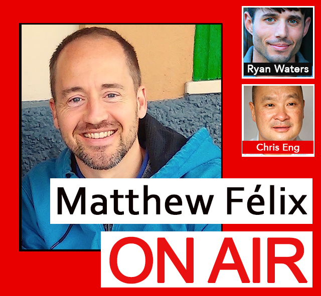 """My first guest on this episode of """"Matthew Felix On Air"""" on FCCFree Radi (fccfreeradio.com) will be the """"Before You Die Guy,"""" Ryan Waters. Ryan's hilarious, entertaining, and informative web series shows viewers how to realize their bucket-list dreams all over the world—and on a budget. Swim with manatees! Shoot a rocket launcher! Skydive from a helicopter! Ryan helps people bridge the gap between """"Wow, I wish I could do that"""" and actually doing it. I'll talk with Ryan about how he got started, how to cross things off our own bucket lists, and his plans to take his series from the Web to TV.  In my second segment, I'll talk with life coach Chris Eng. After successful careers as a sous chef, in corporate brand management and advertising at companies such as Bristol Myers Squibb, JP Morgan Chase, and Visa, and as a small business advisor and consultant, Chris made yet another change—becoming a life coach, so he could help others make positive changes of their own. We'll talk about what life coaching entails, how clients benefit, and how to figure out if we need one for ourselves!"""