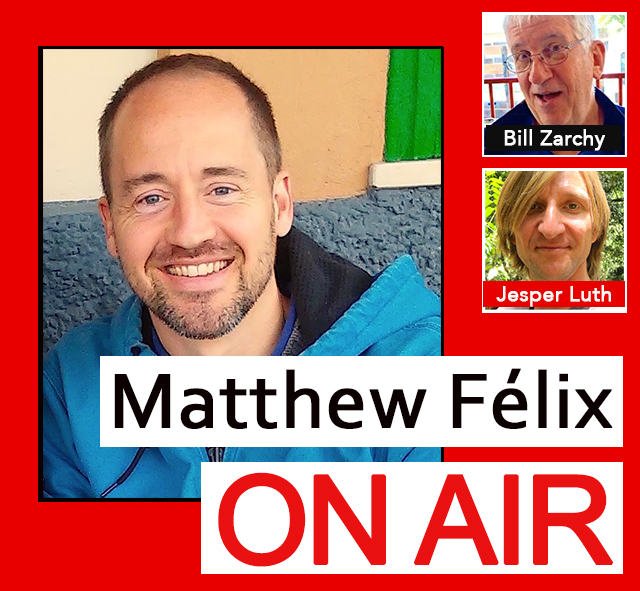 "Cinematographer, performer, and award-winning author of ""Showdown at Shinagawa,"" Bill Zarchy will be my first guest on this episode of ""Matthew Felix On Air"" on FCCFree Radio (fccfreeradio.com). Bill's tales from the road, technical articles, and personal essays have appeared in Chicken Soup for the Soul and Travelers' Tales anthologies, as well as the San Francisco Chronicle and magazines such as American Cinematographer, Emmy, and Kyoto Journal. Bill will talk to us about the art of filming and his adventures in over 30 countries, which included photobombing the red carpet in Cannes, sharing former president Bill Clinton's pain, and a lot of bumps on the head.   In my second segment, I'll talk with production designer and manager Jesper Luth. Jesper has designed and managed big-name concert tours all over the world, starting his career at the ripe young age of just fifteen years old. He has worked with Hall and Oates, Tears for Fears, System of a Down, Michael McDonald, Nick Jonas—and even Barack Obama. Jesper will tell us what goes into designing a concert stage, what life's like on the road, and how he has grown professionally and personally over his long, successful career."
