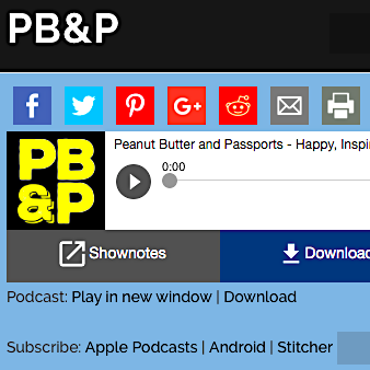 I did a great 2-episode interview for the   Peanut Butter & Passports   podcast. First episode  here . Second  here .