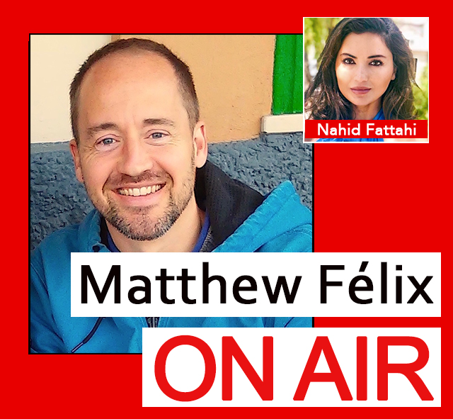 "On the latest episode of the ""Matthew Félix on Air"" video podcast: Nahid Fattahi is a humanitarian, storyteller, poet, yogi, and soon-to-be psychologist. She is also an Afghan refugee.  We talked about her incredible escape from Afghanistan, the work she's done with refugees both in Greece and with Partnerships for Trauma Recovery, and why she decided to give up her lucrative marketing career to become a psychologist.  We also pondered her beguiling love of Canada's Tim Horton's coffee, clarified for listeners that Afghanistan is not located in Africa, and mused upon the difference between mules and donkeys—without coming to any conclusions. Nahid also read for us a poem in Farsi, and another in English, which she wrote for her son. On Facebook, YouTube, iTunes, Google Play, and more."