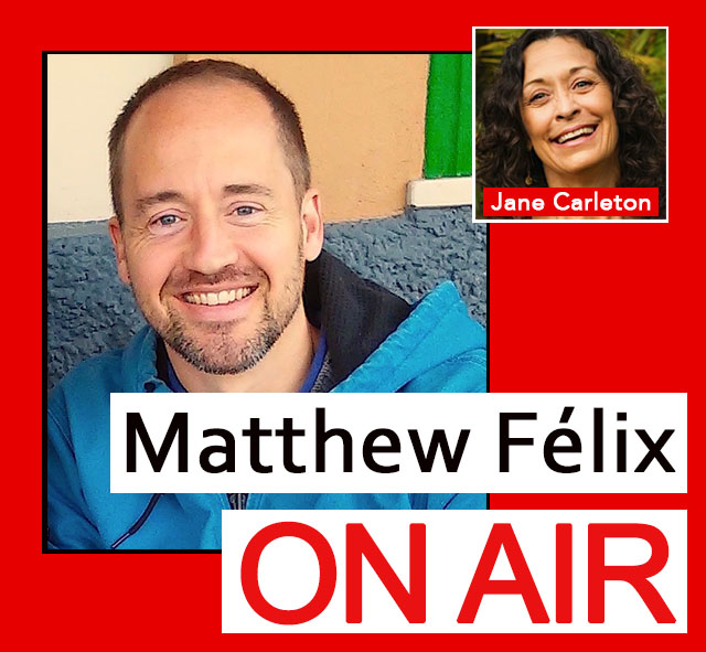 "On the latest episode of the ""Matthew Félix on Air"" video podcast: I had a fascinating talk with dream expert Jane Carleton about dreams, dreaming, dream work, and more! What are dreams? Why do they matter? How can we remember them? What about nightmares? Recurring dreams? How can we understand what they might be trying to tell us? How can dreams be used to heal? Available on Facebook, YouTube, iTunes, Google Play, and more."