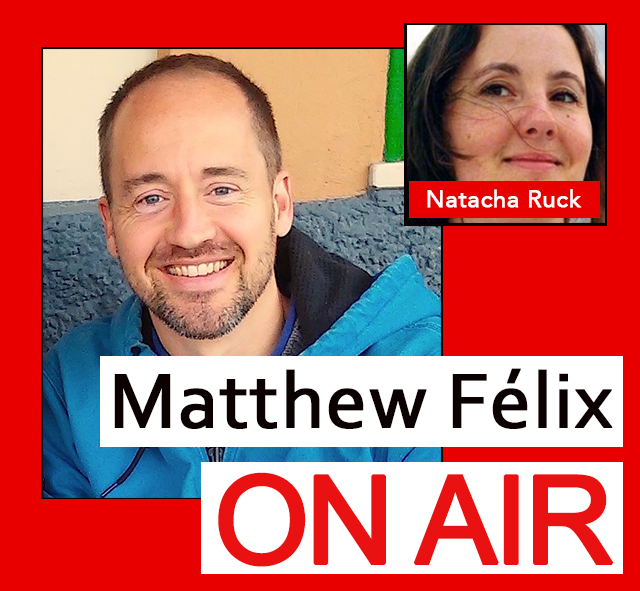 """Natacha Ruck on """"Matthew Felix on Air"""" video podcast. It was so great having fellow Marsh-ian, stage performer, and podcast producer Natacha Ruck in the studio! We compared our recent experiences performing at San Francisco's The Marsh theater, talked about Natacha's other stage work, and much more! Natacha Ruck's documentary work has appeared at the MoMA, the Whitney Museum of American Art, as well as on National Geographic, NBC NY, and Link TV. Her podcasting work has appeared on NPR affiliates nationally and locally. She teaches multimedia storytelling at the University of San Francisco (USF), is workshopping a solo performance, and runs DoTellDo.com, a storytelling service company."""