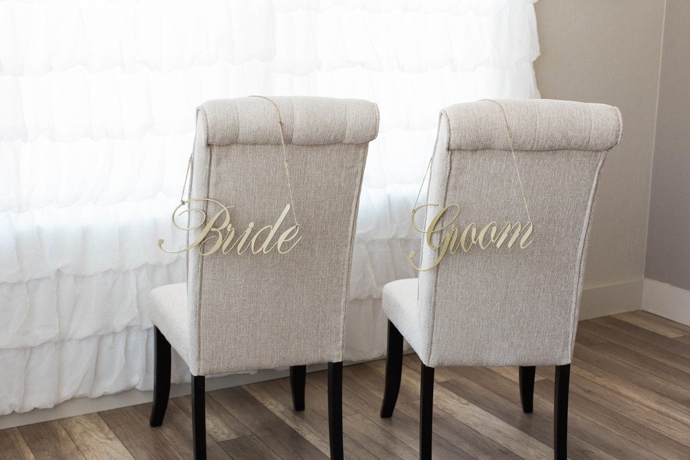 Bride & Groom Chair Sign, Gold