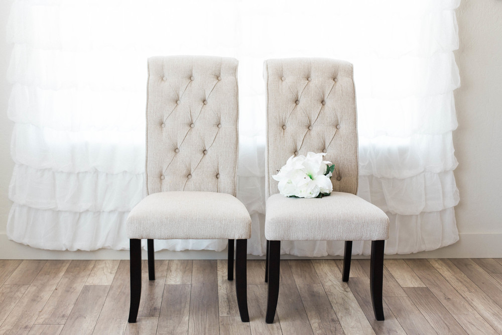 Cream Tufted Bride & Groom Chairs (2)