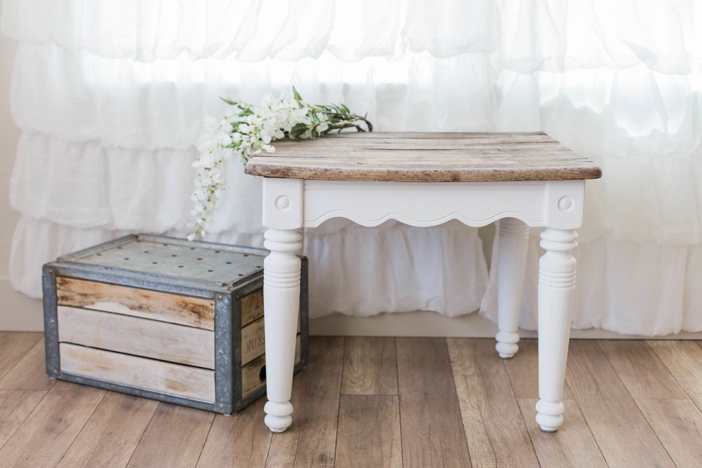 "24"" L x  24"" W - White Side Table w/ Rustic Top"