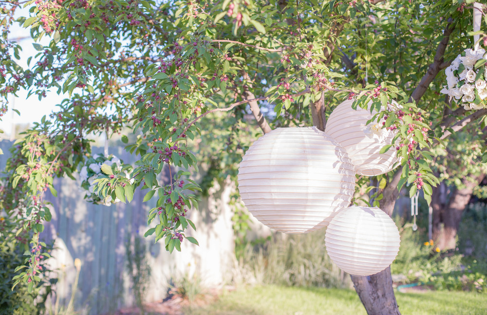 "White Paper Lanterns Sizes 24"", 18"" & 12"""