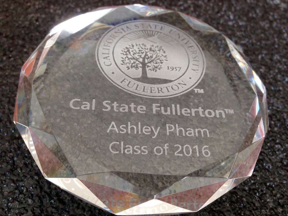 Engraved Crystal Paper Weight