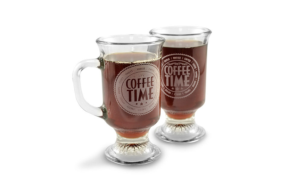Laser Engraved Glass Coffee Mugs