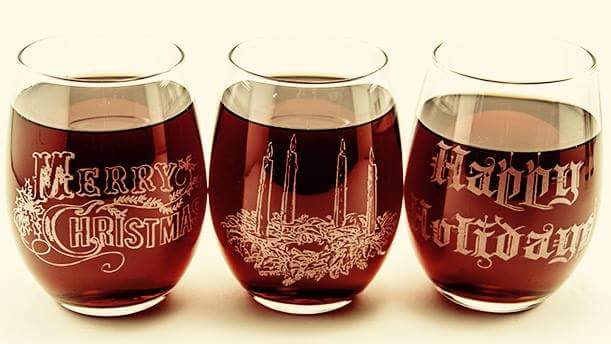 Laser Etched Holiday Glasses