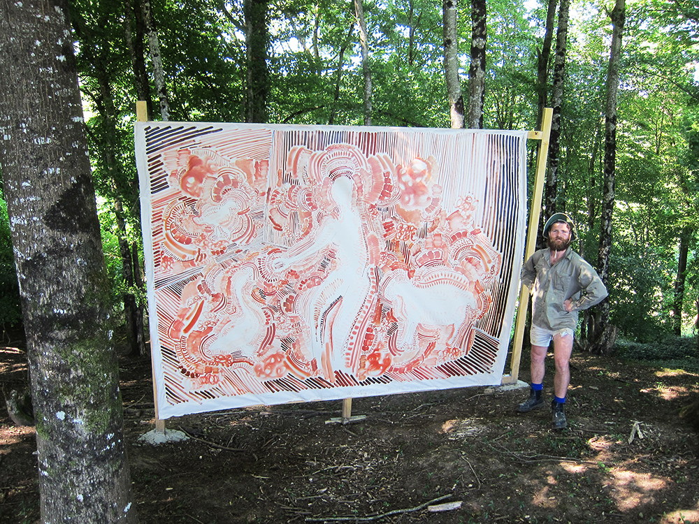 painting in the woods