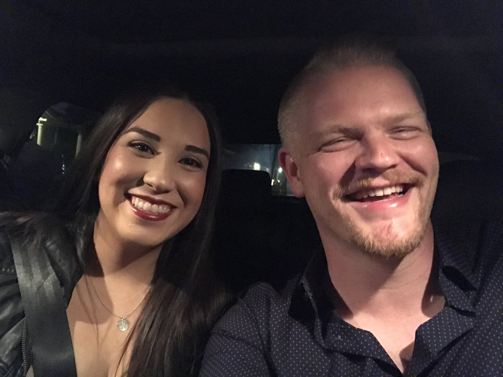 Sean and his beautiful, wonderfully supportive fiancé, Erika. Don't worry, he wasn't actually driving when this selfie was taken.