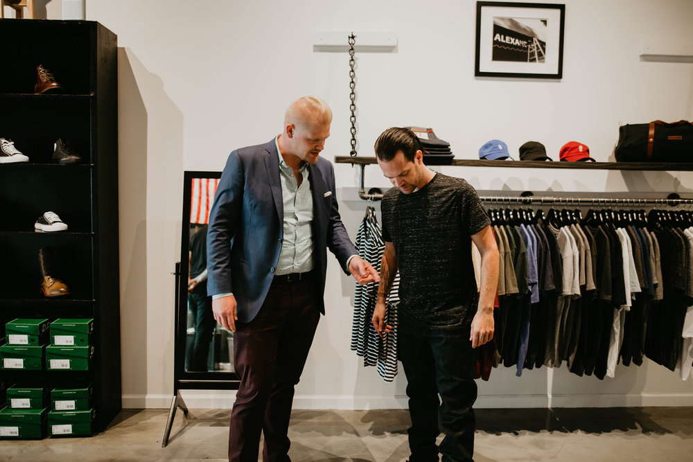 Nuinspiration's Sean Ireton, helping a client find the right casual clothes based on Personal Branding materials developed specifically for him. Photography by  Stephanie Portugal  at  Alexander Robert Trading Co .