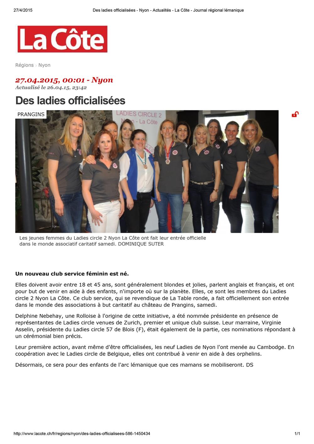 Des ladies officialisées - Nyon - Actualités - La Côte - Journal régional lémanique.jpg