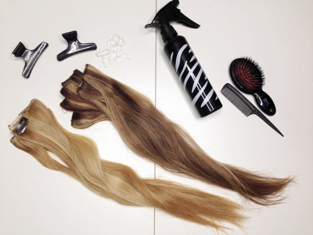 Here is what you need: a brush, a comb, extensions, rubber bands and some water or gel